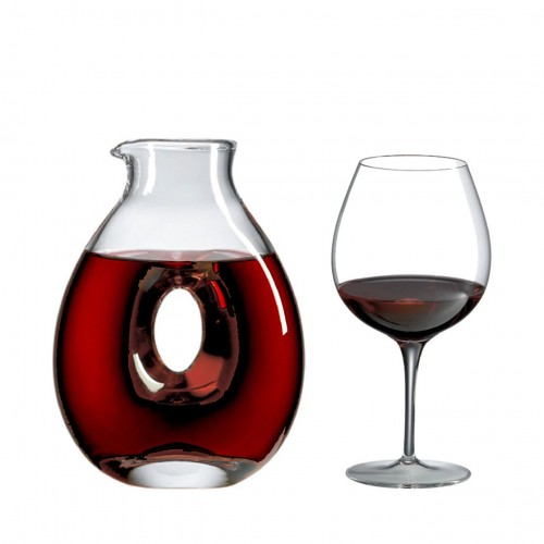 Torus Decanter Gift Set (5 Pieces) with Free Luxury Satin Decanter and Stopper Bags and Microfiber Cleaning Cloth